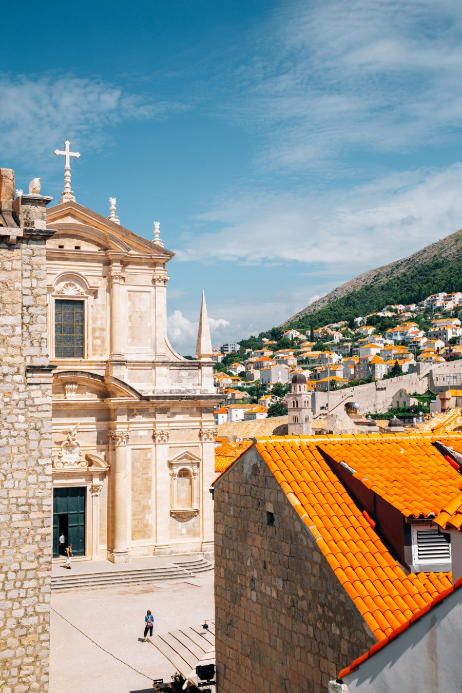 Medieval old town cityscape and saint Ignacius church in Dubrovnik